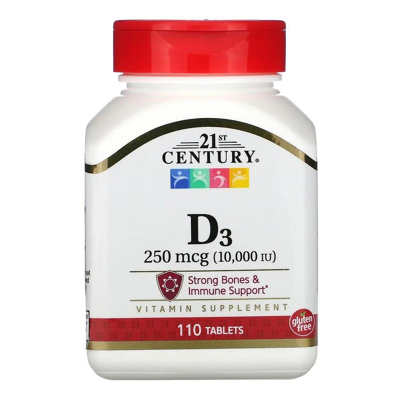 Vitamin D3 250 мкг 10,000 IU 21st Century 110 таблеток