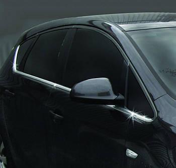 Opel Astra J 2010↗ гг. Нижняя окантовка стекол (Hatchback, 8 шт, нерж) OmsaLine - Итальянская нержавейка