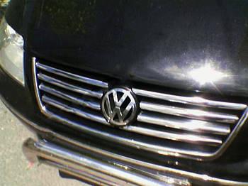 Volkswagen Sharan 1995-2010 гг. Накладки на решетку (нерж) 2000-2008 год, 8 полосок
