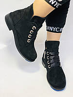 Женские осенние ботинки. на низком каблуке. Натуральная замша. Alvito. р. 36-40. Vellena, фото 4