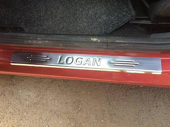 Renault Logan II 2008-2013 гг. Накладки на пороги Carmos (4 шт, нерж.)