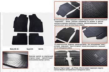 Daewoo Matiz 1998-2008 гг. Резиновые коврики (4 шт, Stingray Premium)