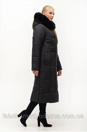 Стильный модный длинный пуховик с мехом песец в большом размере Украина Размеры: 46.48.50.52.54.56., фото 2