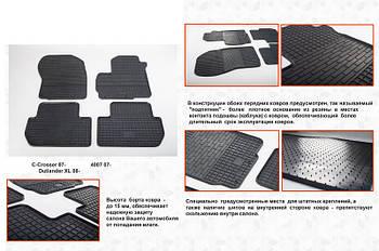 Mitsubishi Outlander 2012↗ и 2015↗ гг. Резиновые коврики (4 шт, Stingray Premium)