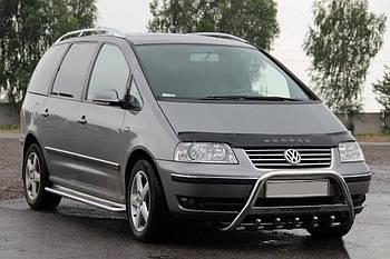 Volkswagen Sharan 2010↗ гг. Кенгурятник WT003 (нерж) 60 мм, с надписью