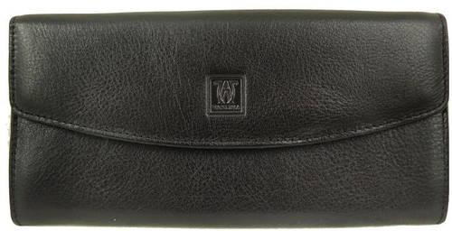 Строгий удобный кошелек из кожы  WANLIMA (ВАНЛИМА) W50040270835-black (черный)