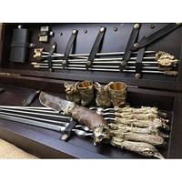 VIP-Набор шампуров «Бивак » с рюмками, ножом, складным мангалом, флягой и зажигалкой