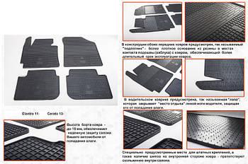 Kia Cerato 3 2013-2018 гг. Резиновые коврики (4 шт, Stingray Premium)