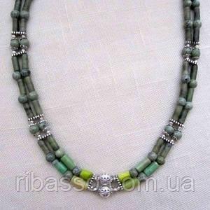"""Кольє, сережки """"Модрина"""" - лабрадор, зелений корал, змійовик"""