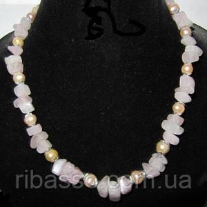 Кольє, сережки - рожевий кварц, рожевий перли