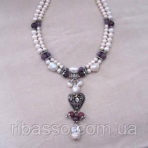 """Кольє, сережки """"Елізабет"""" - перлина Бароко, рубіни"""