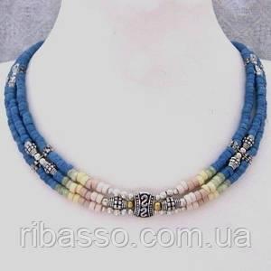 Колье, браслет, серьги - голубая керамика