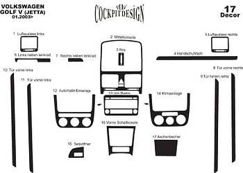 Volkswagen Golf 5 Накладки на панель Дерево