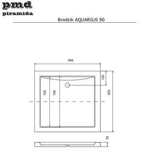 Душевой квадратный поддон AQUARIUS-1 NEW UltraSlimLine 90х90х5,5 BESCO PMD PIRAMIDA, фото 2