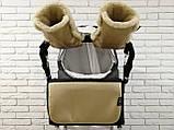 Комплект сумка-пеленатор і рукавички на коляску Z&D New Еко шкіра (Золотий), фото 2