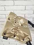 Комплект сумка-пеленатор і рукавички на коляску Z&D New Еко шкіра (Золотий), фото 8