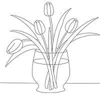 """Холст с контуром """"Желтые тюльпаны"""" (30см*30см) 950577 без красок"""