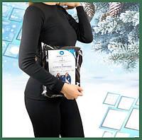 Термобелье женское на флисе комплект, Теплое норвежское черное