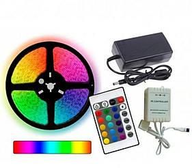 КОМПЛЕКТ Светодиодная LED лента RGB 12V цветная 4.5м + пульт + блок