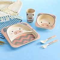Детская подарочная посуда из бамбука 5 предметов Поросёнок HLS (4309), фото 1