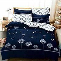 Комплект постельного белья сатин,Евро размер с 4 наволочками,В сердечка,Цвет темно-синий