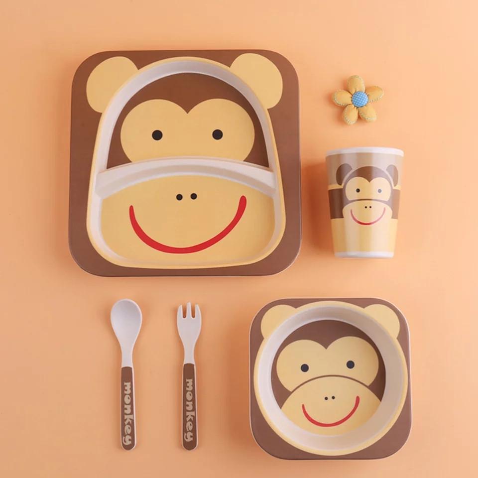 Дитячий посудний набір з бамбуковї фібри 5 предметів Мавпочка HLS (4309)