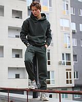 Стильный мужской утепленный спортивный костюм на трехнить флисе цвет хаки - XS, S