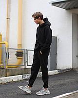 Очень теплый молодежный спортивный костюм трехнить на флисе черный, фото 1