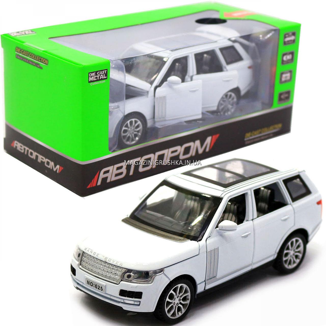 Машинка ігрова автопром «Range Rover» джип, метал, 15 см, білий (світло, звук, двері відкриваються) 7639