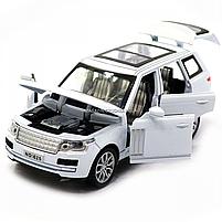 Машинка ігрова автопром «Range Rover» джип, метал, 15 см, білий (світло, звук, двері відкриваються) 7639, фото 6