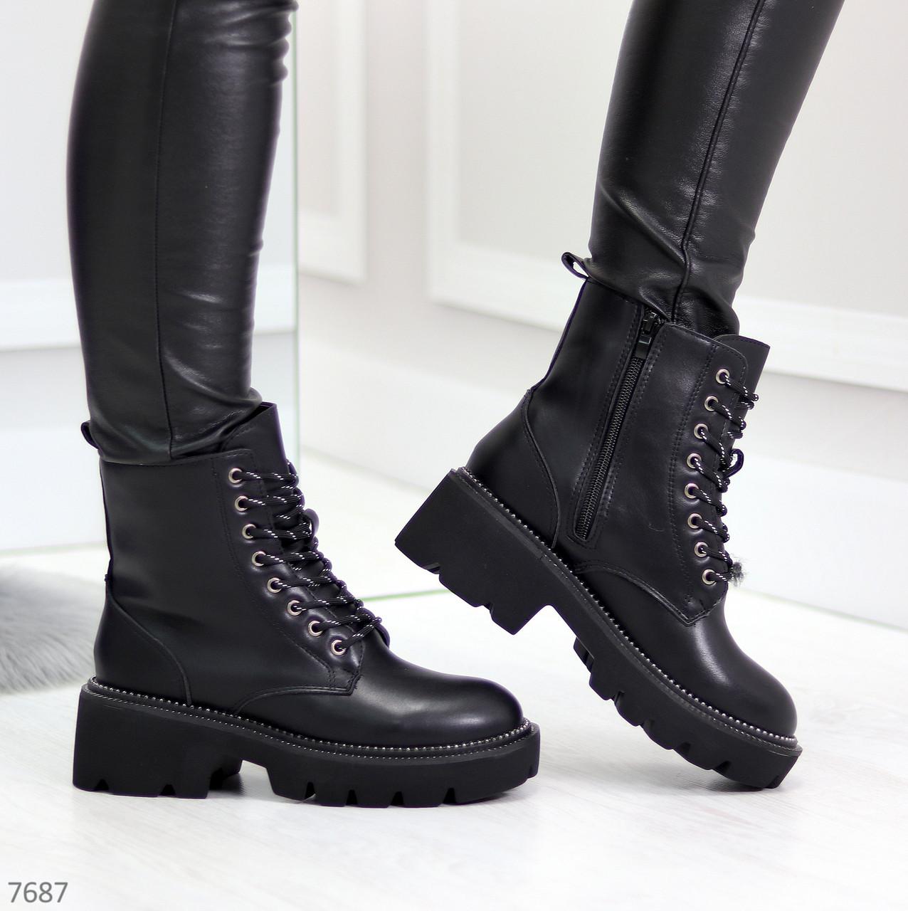 Практичные черные женские зимние ботинки гриндерсы зима 2020-2021