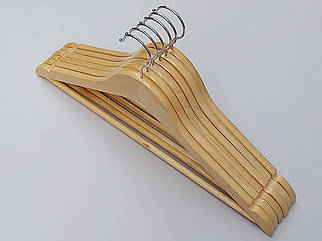 """Плечики длиной 45 см деревянные светлые класса """"A"""", в упаковке 6 штук"""