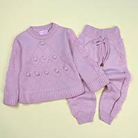 Вязаный костюм кофта и штаны для девочки розовый тм MissOlix размер 2 года