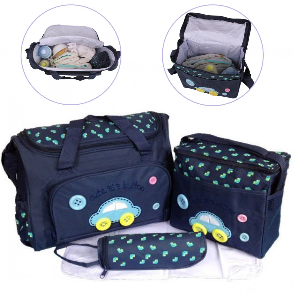 Жіночий набір сумок для мам з килимком Cute as a Button Темно-синій