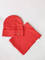 Дитяча шапка з хомутом зірочка 48-50 розмір колір червоний