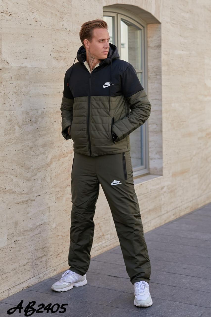 Стильний чоловічий зимовий теплий прогулянковий костюм на синтепоні: штани і куртка на овчині, репліка Nike