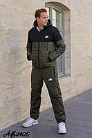 Мужской стильный зимний теплый прогулочный костюм на синтепоне: штаны и куртка на овчине, реплика Nike
