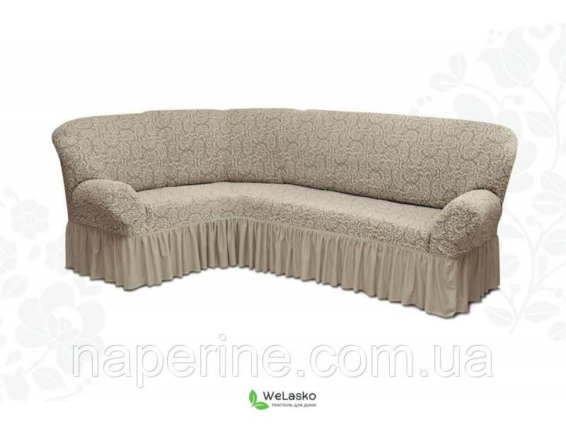Чехол жаккардовый натяжной на угловой диван с рюшем  MILANO кофейный 405