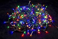Гирлянда светодиодная нить на елку Мульти 26 м. 400 LED от сети прозрачный провод