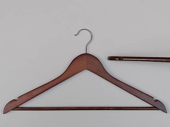 Плечики длиной 44,5 см деревянные коричневого  цвета , в упаковке 6 штук, фото 2