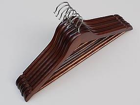 Плечики длиной 44,5 см деревянные коричневого  цвета , в упаковке 6 штук, фото 3