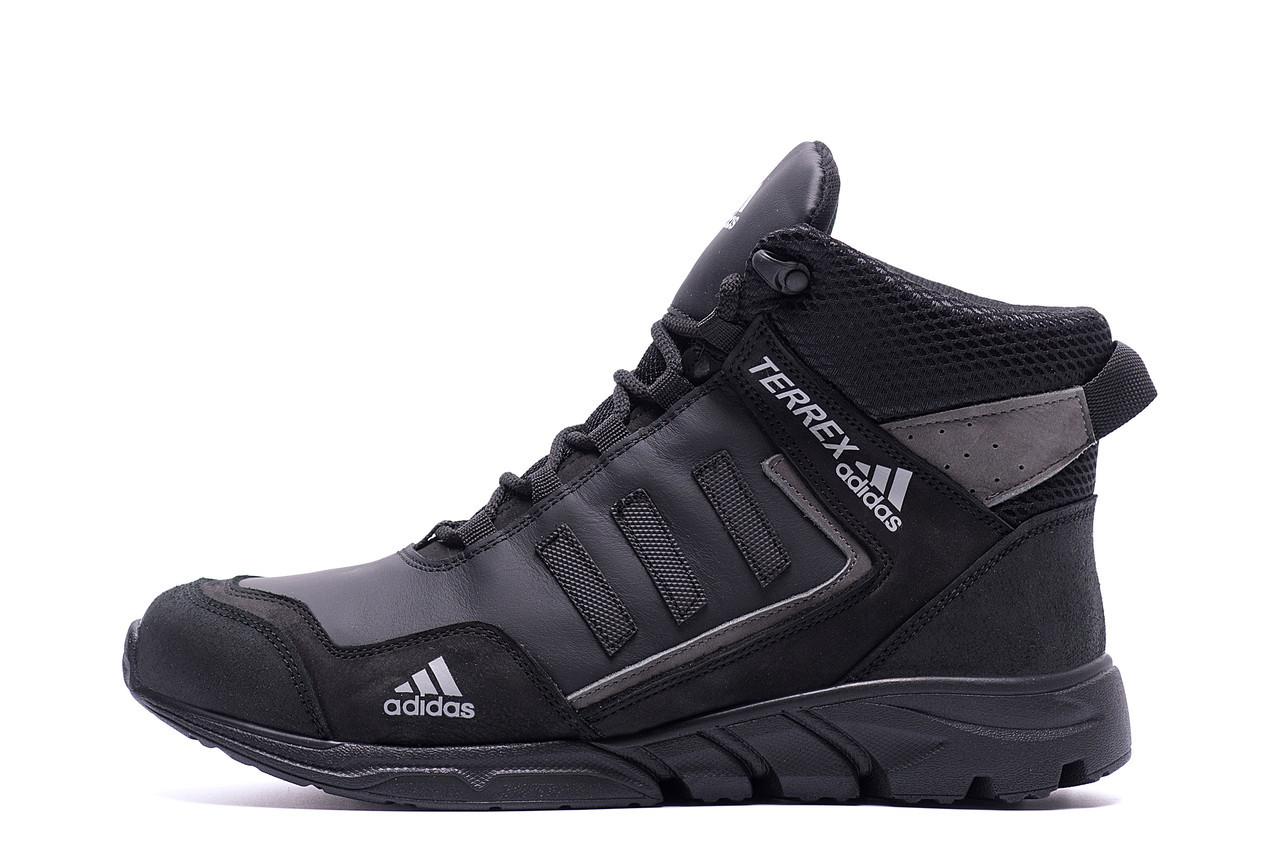 Чоловічі зимові шкіряні черевики TERREX Black Grey (репліка) р.