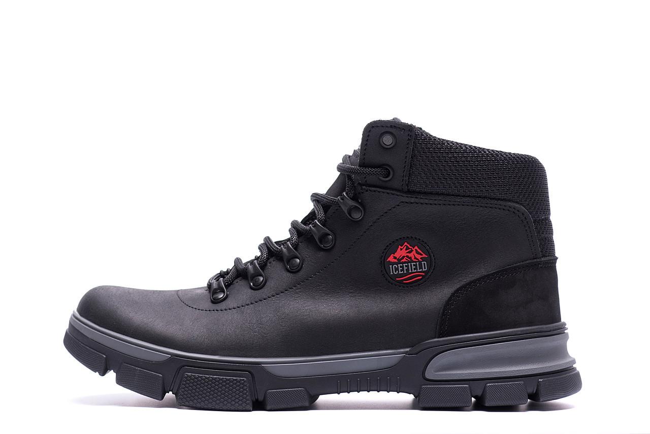 Чоловічі зимові шкіряні кросівки icefield Black Classic (репліка) р. 40 41 42 43