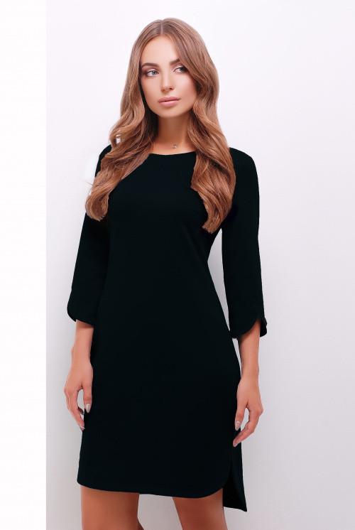 Стильное однотонное платье с разрезами на рукавах и снизу черное 46