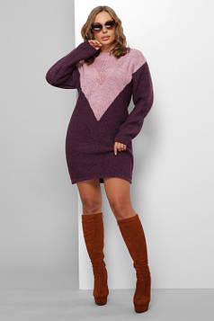 Женское вязаное платье сирень-фиолетовый 46-52
