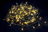 Гирлянда LED нить на елку Тепло-белый 400 LED от сети черный провод