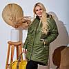 Жіноча тепла стьобаний осінньо-зимова куртка з плащової тканини на синтепоні, батал великі розміри, фото 3