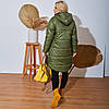 Жіноча тепла стьобаний осінньо-зимова куртка з плащової тканини на синтепоні, батал великі розміри, фото 4