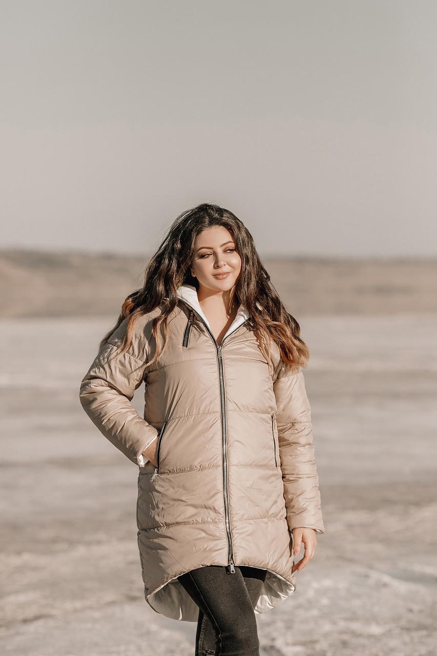 Жіноча тепла стьобаний осінньо-зимова куртка з плащової тканини на синтепоні, батал великі розміри