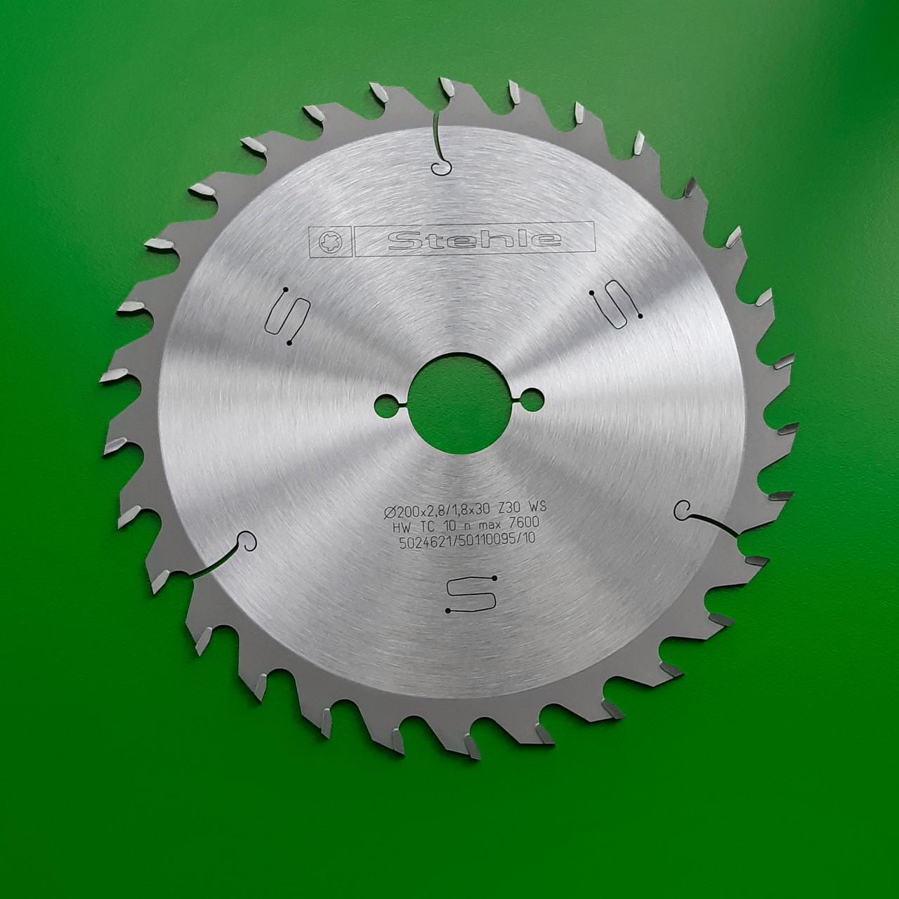 200х2,8х1,8х30 z=30 Пильний диск по дереву Stehle для поздовжнього пиляння